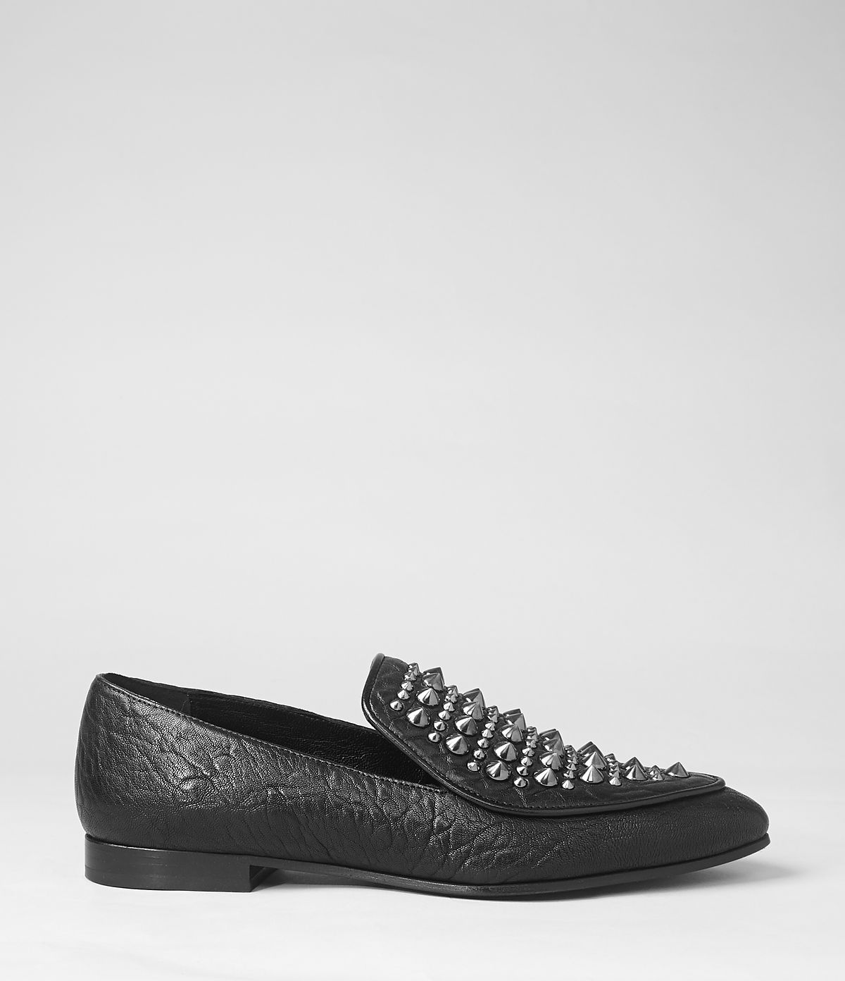 8c73b78a3a7 Lyst - AllSaints Keiko Studded Loafer in Black