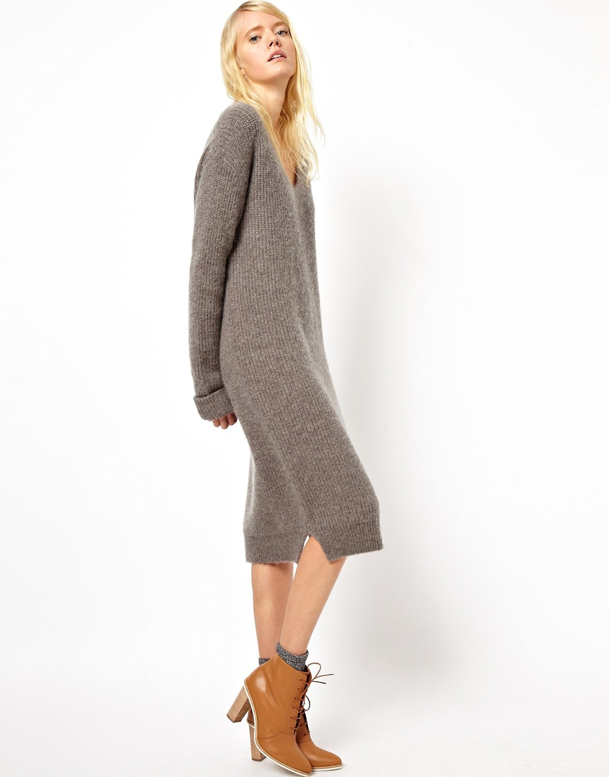 lyst asos asos white midi sweater dress with vneck in gray. Black Bedroom Furniture Sets. Home Design Ideas