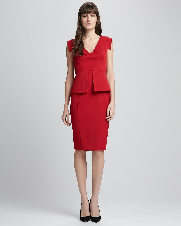 Black halo Keyton Peplum Dress Crimson Red in Red - Lyst