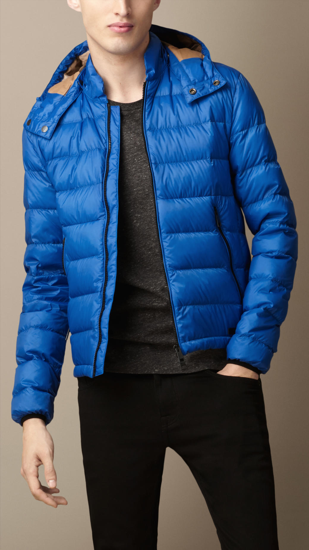 Burberry Down Filled Puffer Jacket In Blue For Men Lyst