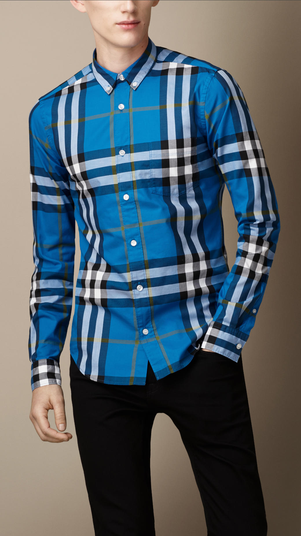 Lyst Burberry Exploded Check Cotton Shirt In Blue For Men