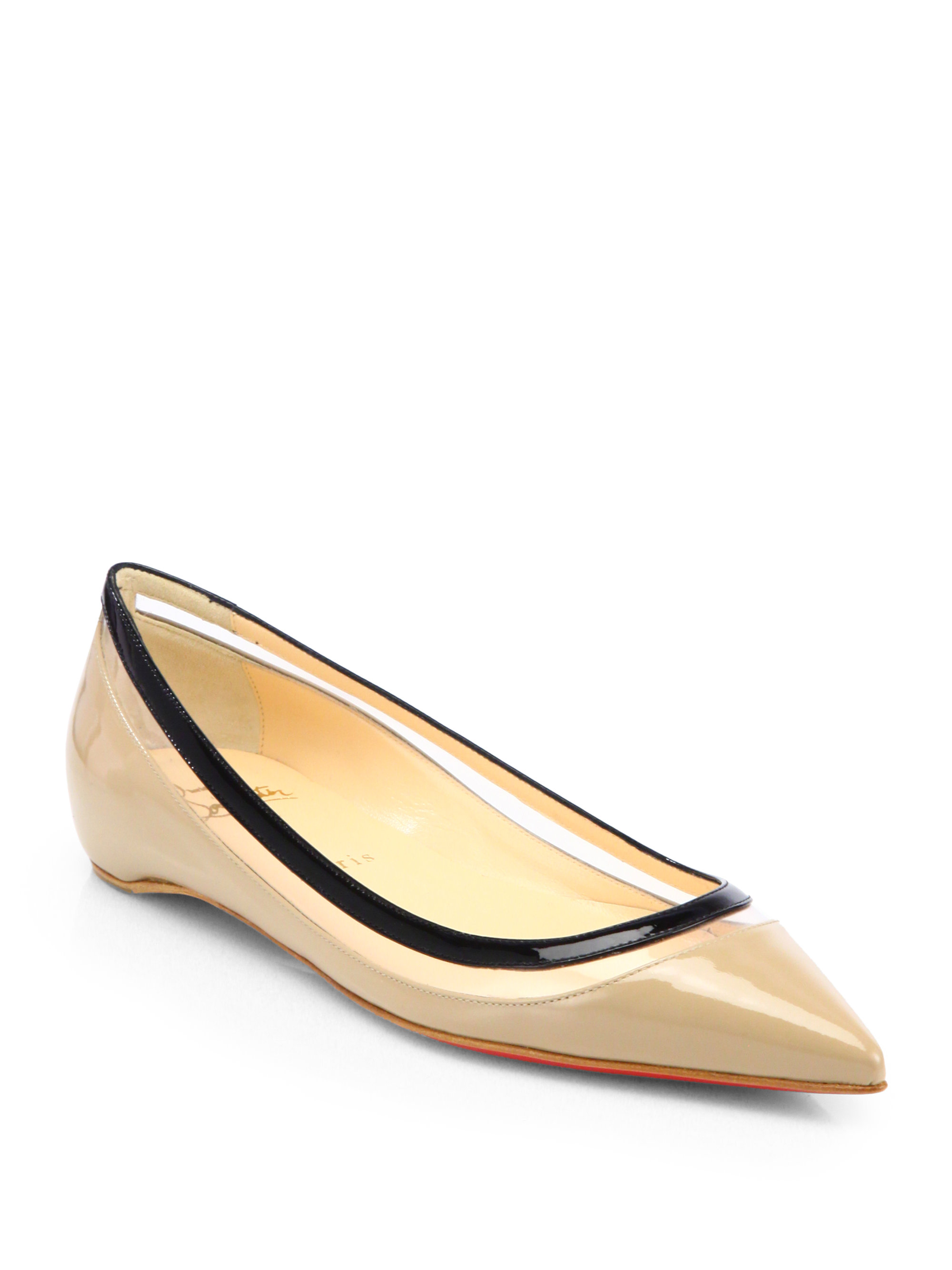 christian louboutin pointed-toe flats Black suede | cosmetics ...
