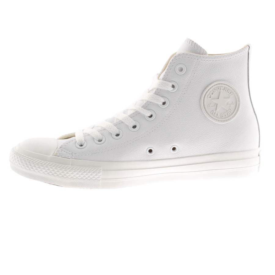 Converse All Star Leather Hi Top Trainers in White for Men ...