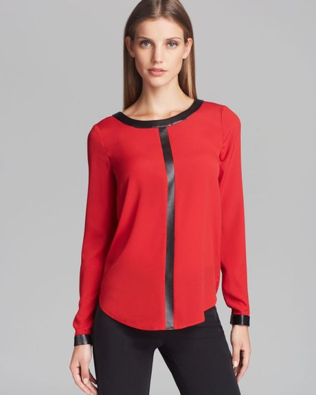 Red Black Blouse | Fashion Ql