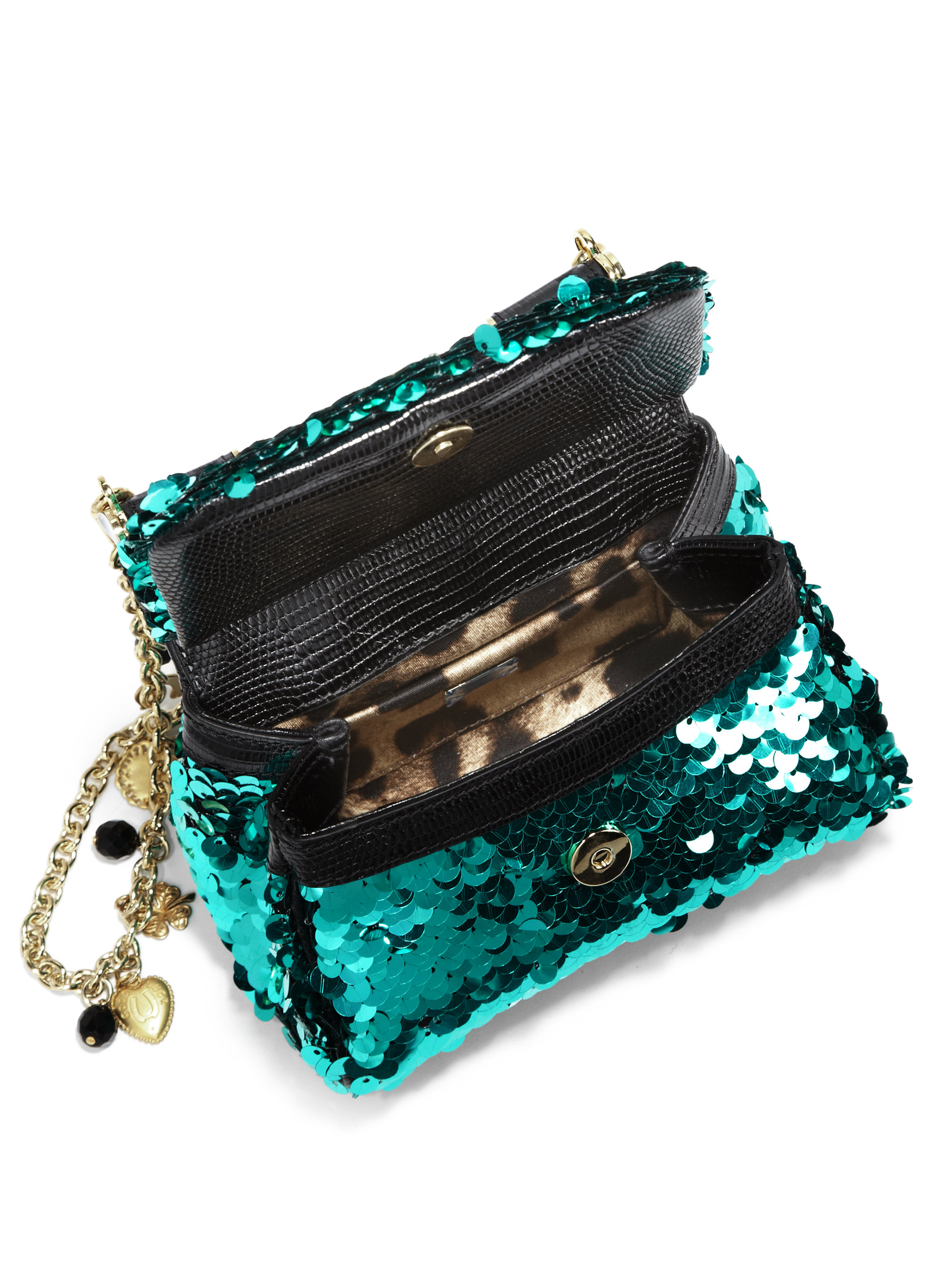6437d5159484 Lyst - Dolce   Gabbana Mini Miss Sicily Sequin Clutch in Blue