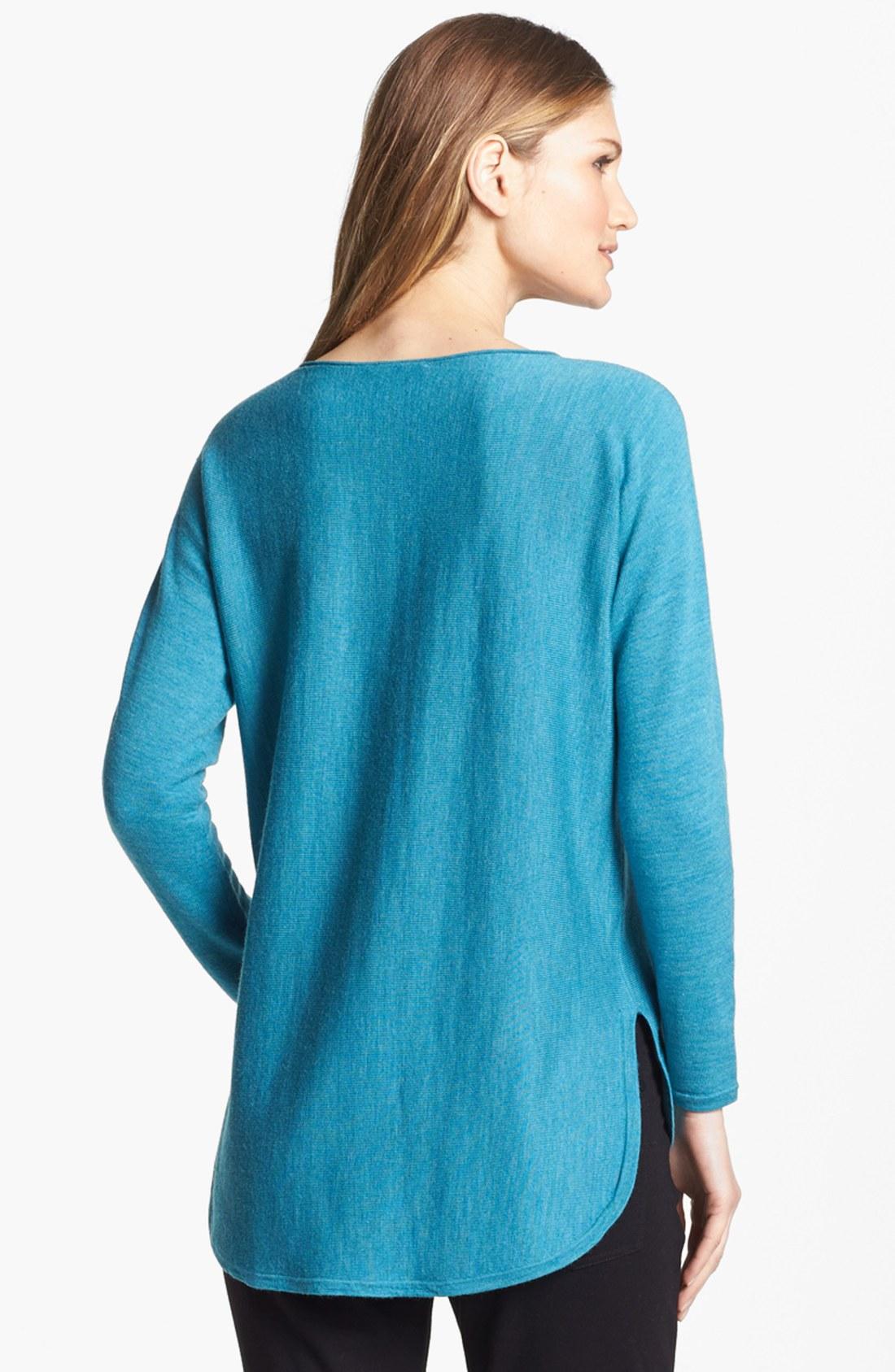 Eileen Fisher Shirttail Hem Merino Sweater In Blue Azure