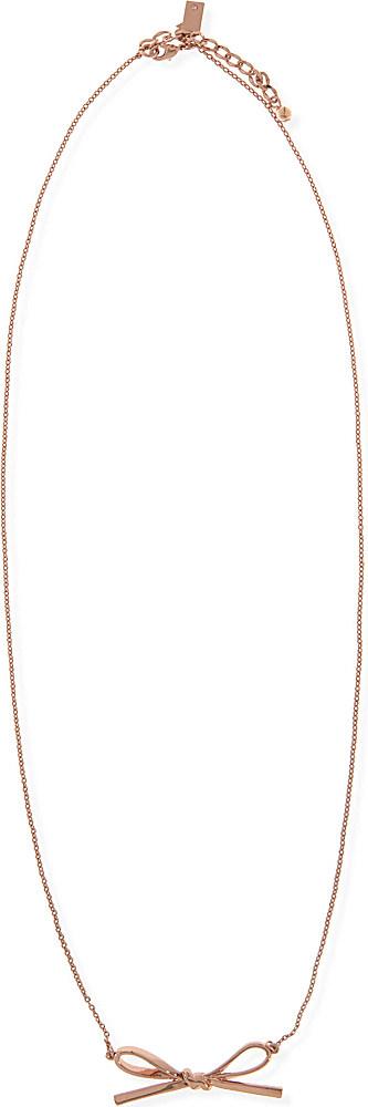 Kate Spade Skinny Mini Bow Necklace in Rose Gold (Metallic)