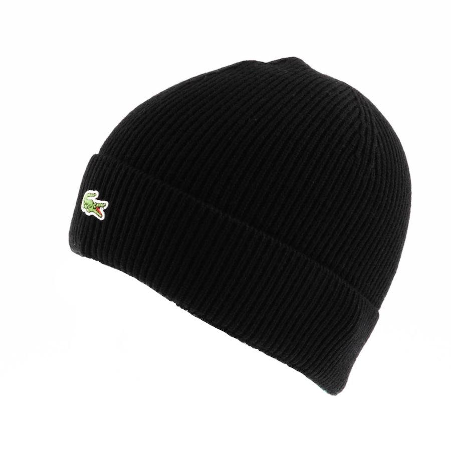 Lyst - Lacoste Ribbed Beanie in Black for Men a3e068e0112e