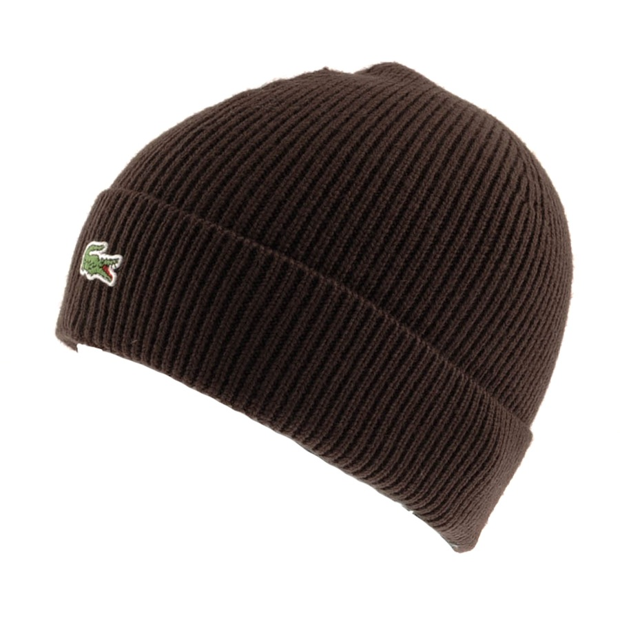 dbbd118c238 Lyst - Lacoste Ribbed Beanie Dark Mocha in Brown for Men