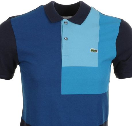 lacoste l ive colour block polo t shirt marine in blue for men navy lyst. Black Bedroom Furniture Sets. Home Design Ideas