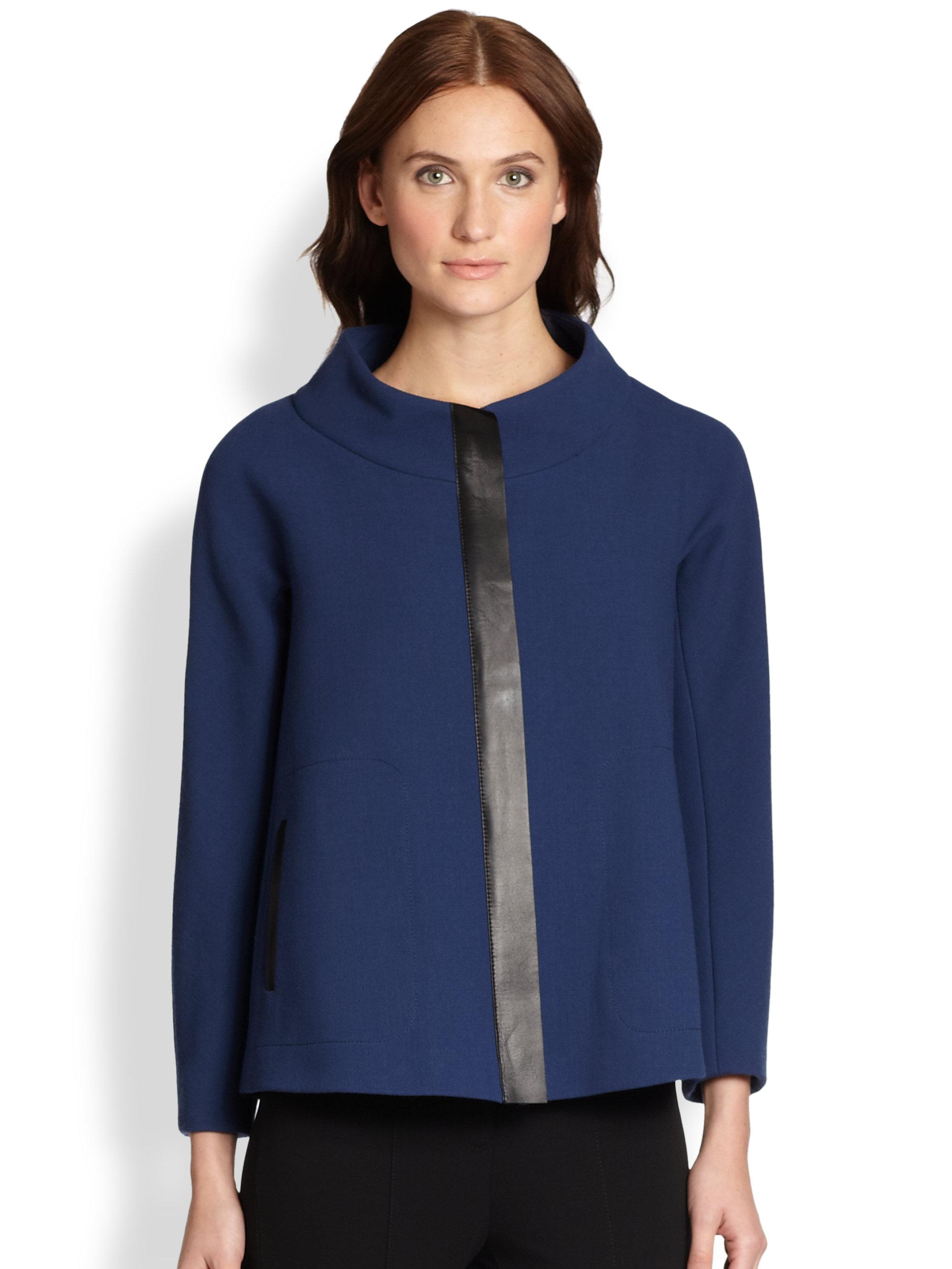 Lafayette 148 New York Parissa Wool Swing Jacket In Blue