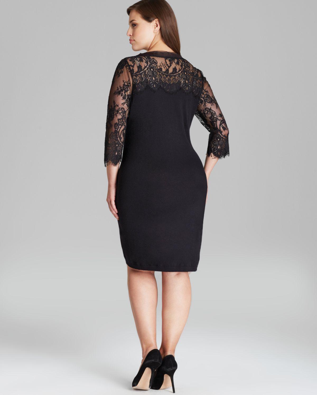 1175d5112d Lyst - Marina Rinaldi Gattino Knit Dress with Lace Sleeves in Black