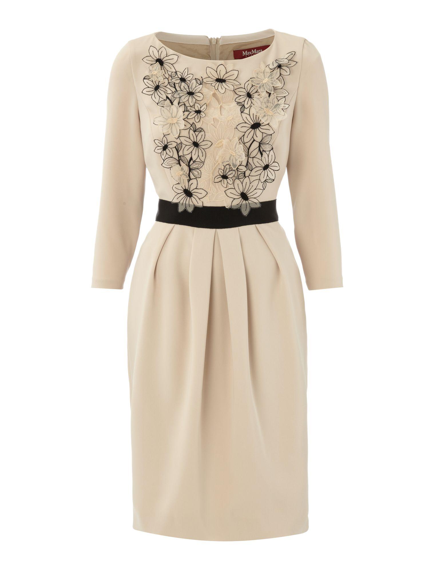 max mara studio gelada embroidered dress in beige cream. Black Bedroom Furniture Sets. Home Design Ideas
