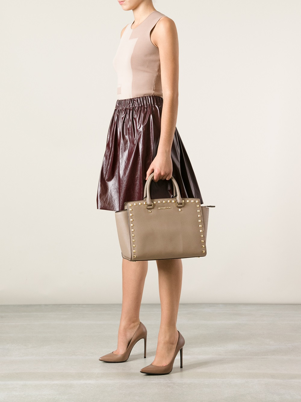 293c28713fb0 ... Satchel Michael Michael Kors Selma Medium Tote in Natural - Lyst ...