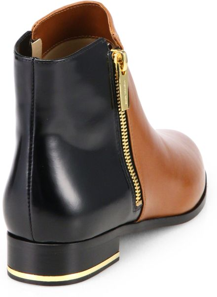 michael kors cindra ankle boots in brown brown black lyst