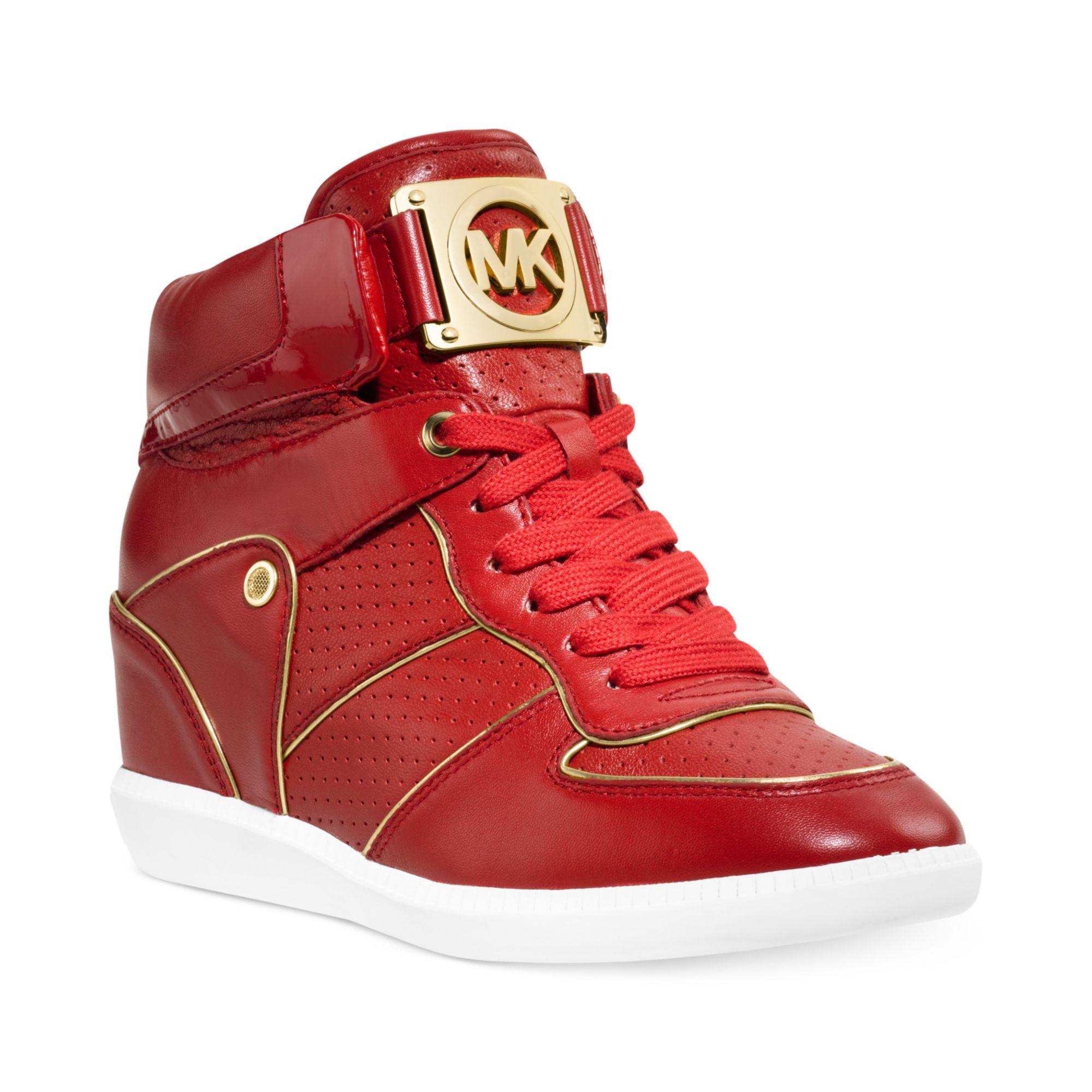 c4812cb285ef5 Lyst - Michael Kors Nikki High Top Logo Sneakers in Red