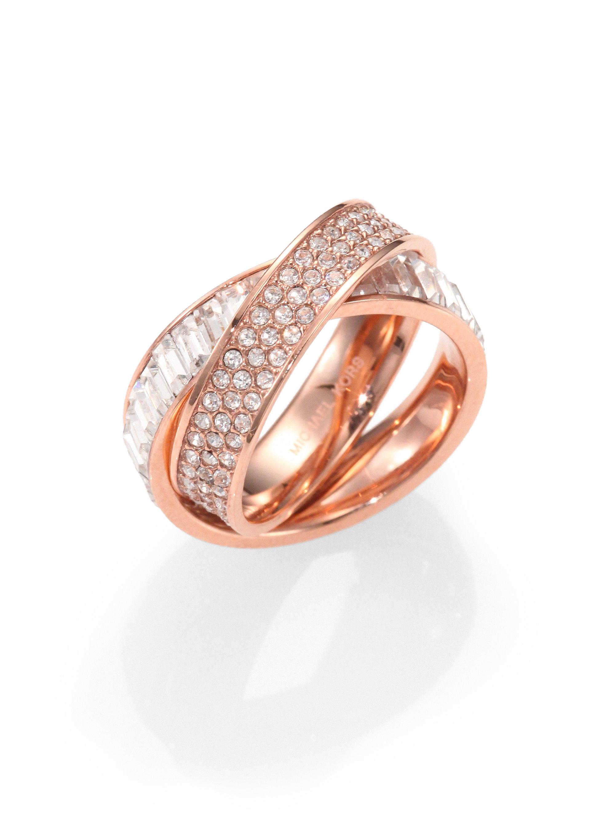 Michael Kors Intertwined Baguette Amp Pav 233 Ring Rose Gold In