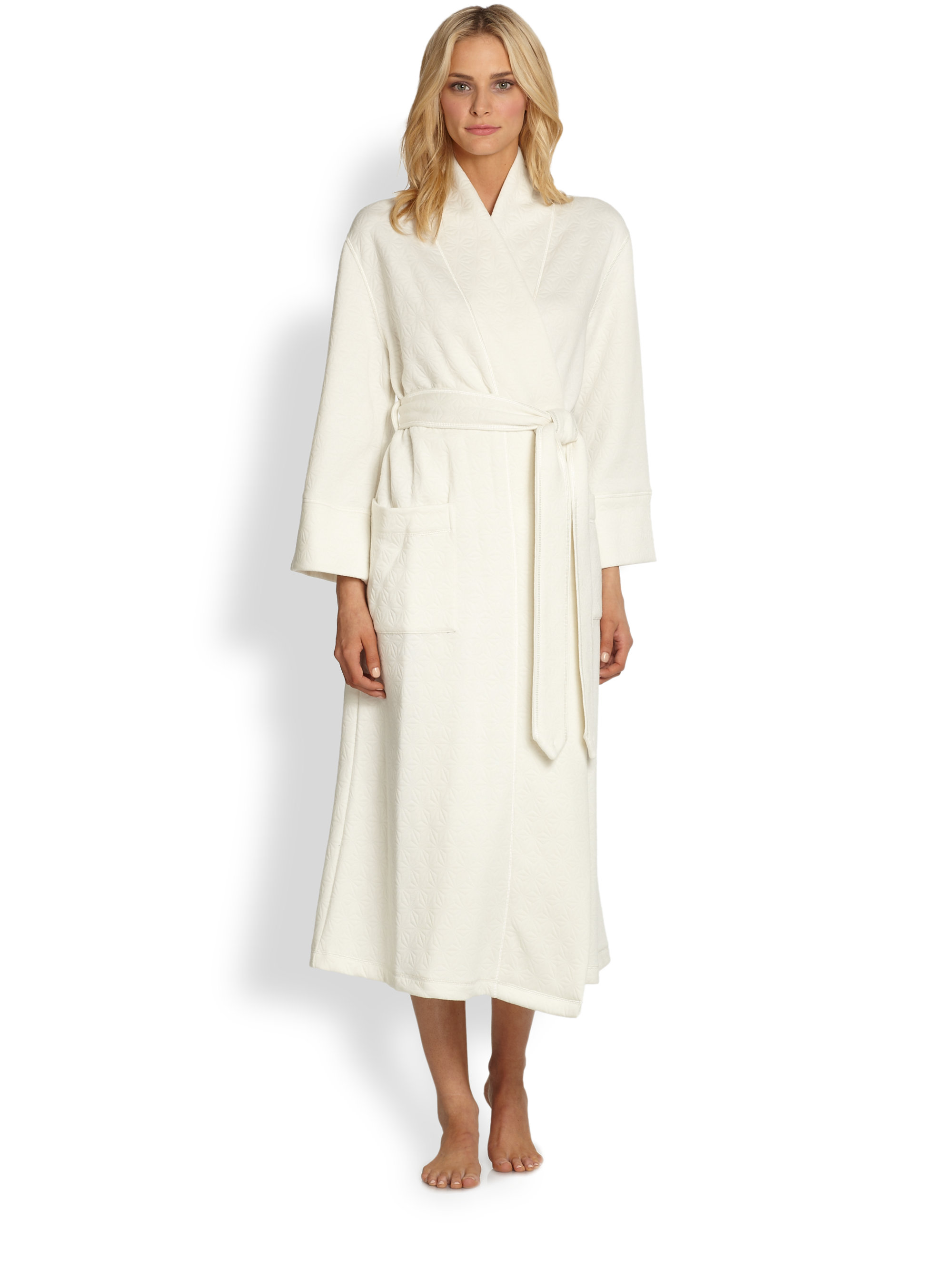 Natori beijing quilted robe in natural lyst for Robes de mariage de betsey johnson