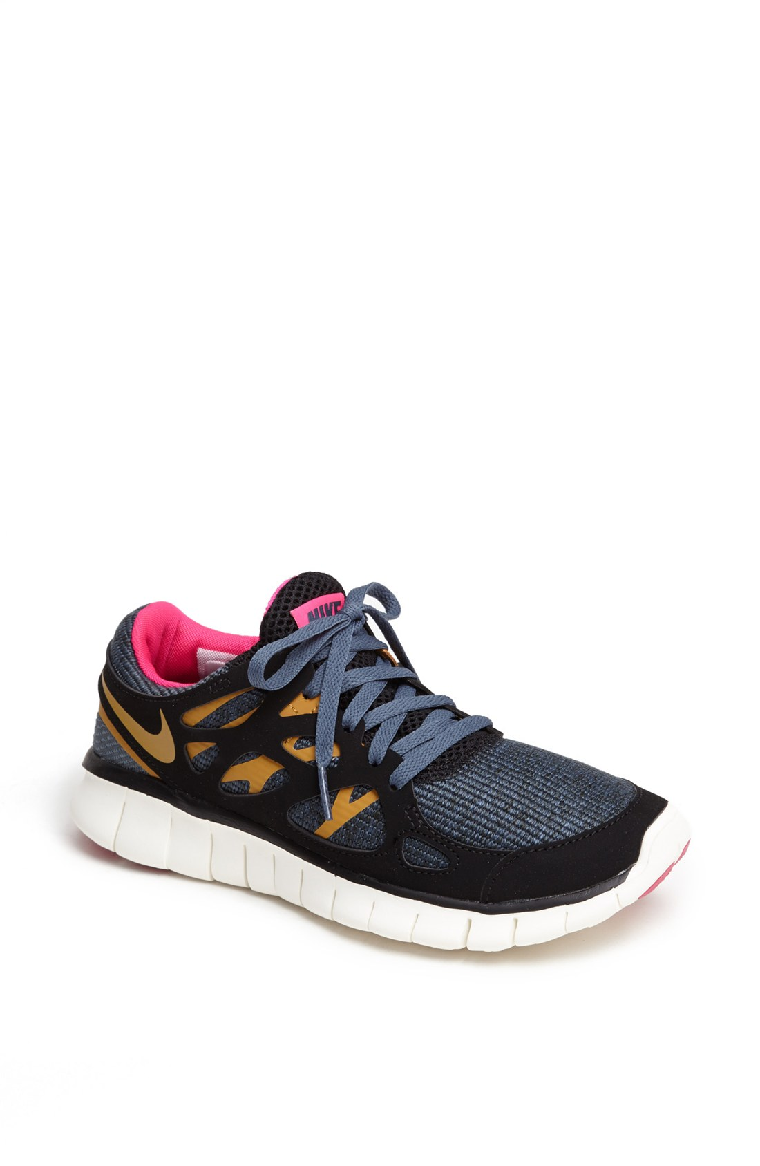 nike free run 2 ext running shoe in black black gold grey pink lyst. Black Bedroom Furniture Sets. Home Design Ideas