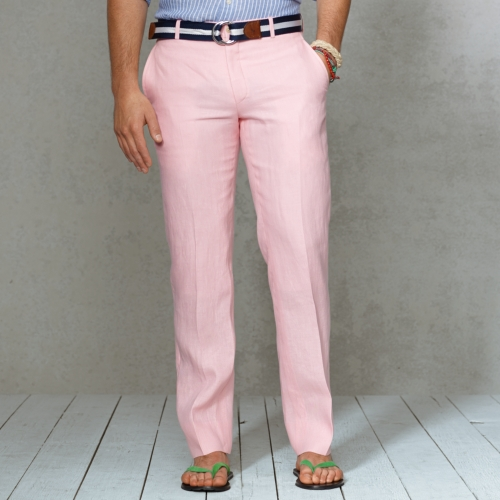 provide large selection of new cheap excellent quality Polo Ralph Lauren Pink Customfit Linen Trouser for men