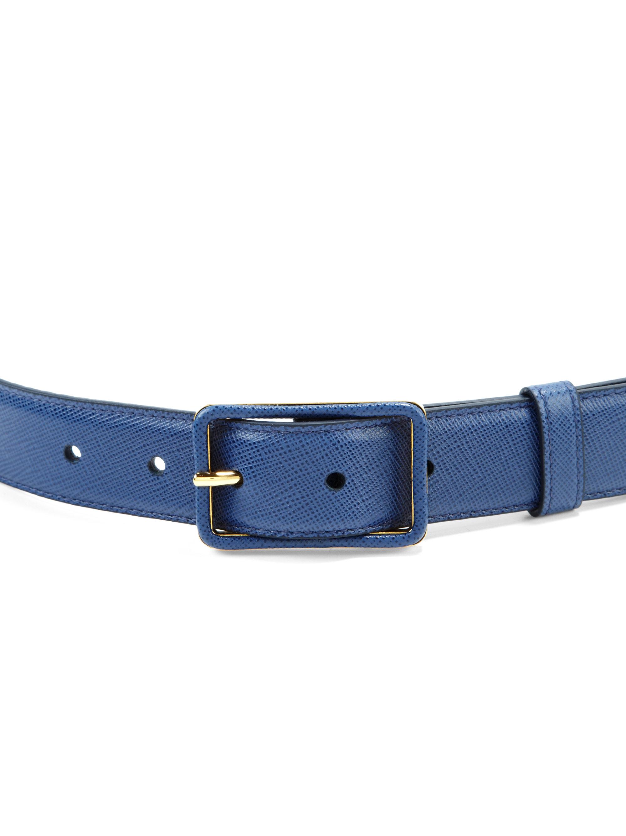 Prada Saffiano Leather Belt In Blue