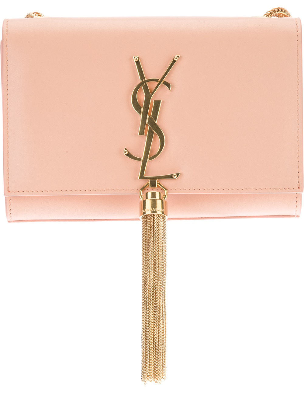 Lyst - Saint Laurent Small Cassandre Tassel Shoulder Bag in Pink 066773f79e703
