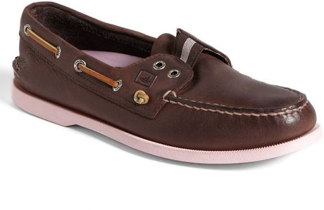 sperry top sider slipon boat shoe in brown for brown