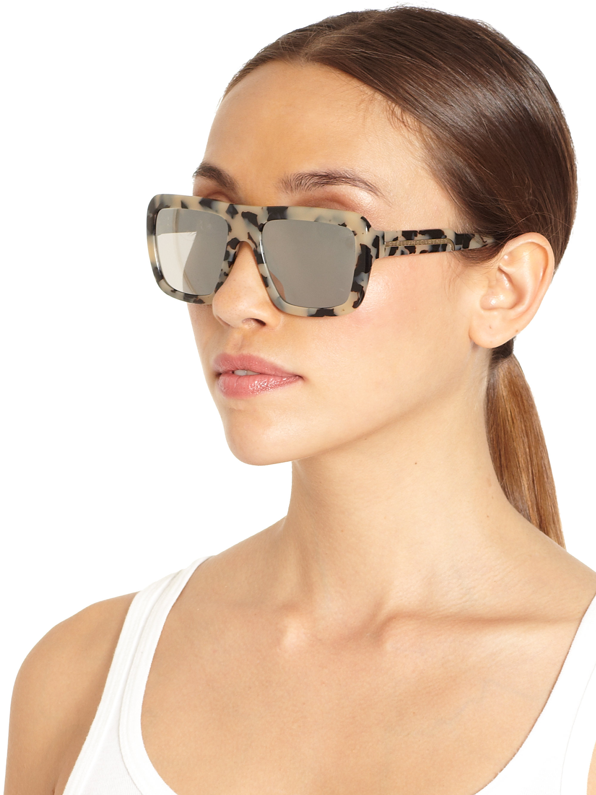 Lyst Stella Mccartney Oversized Square Sunglasses In Gray
