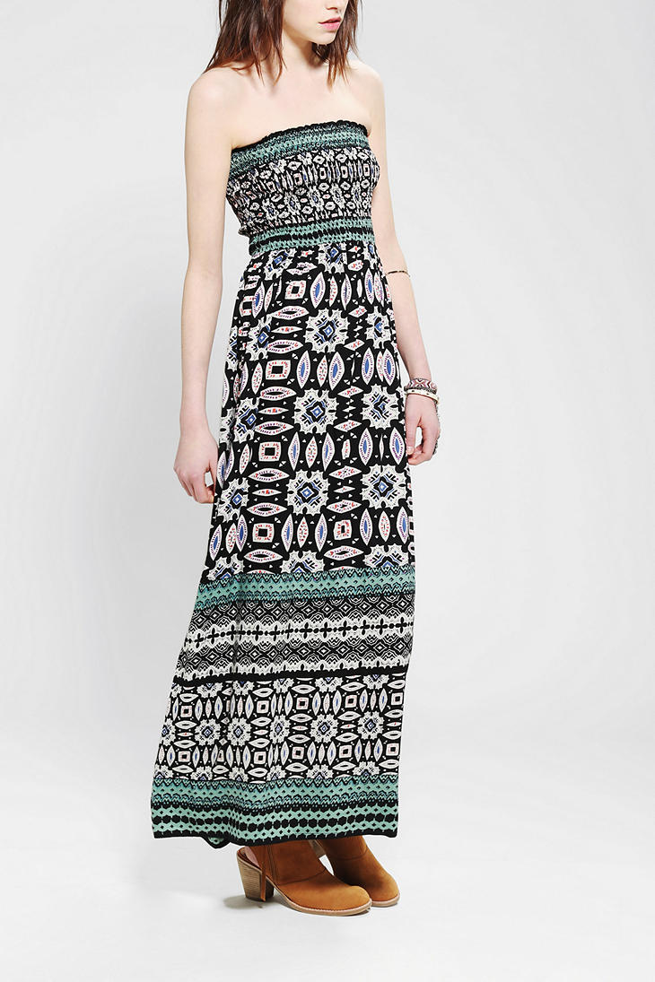 Angie Strapless Printed Maxi Dress