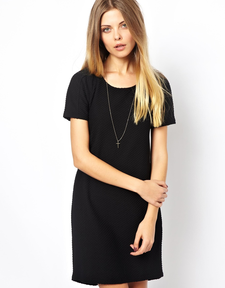 Vero Moda Textured T Shirt Dress In Black Lyst