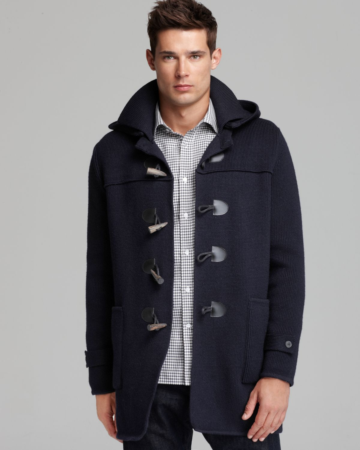 Vince Long Wool Toggle Coat in Blue for Men | Lyst
