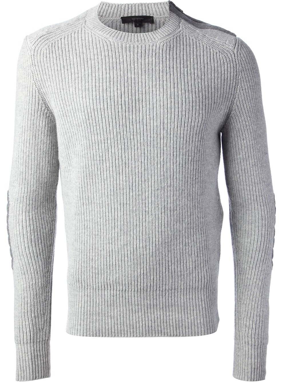 Belstaff Ribbed Sweater in Gray for Men | Lyst