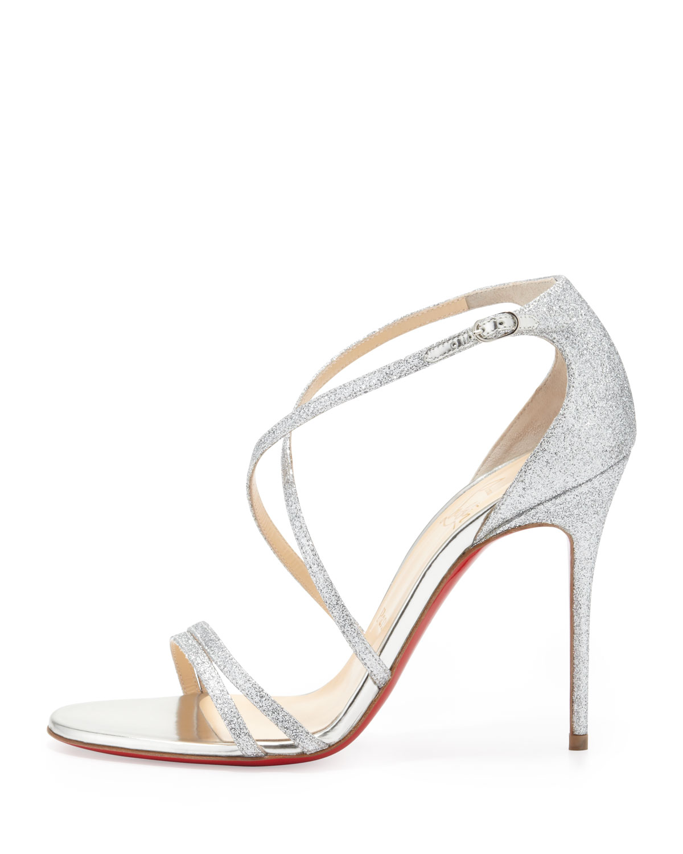 a470f12026d Christian Louboutin Metallic Gwynitta Glitter Opentoed Sandal Silver