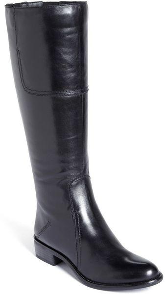 Franco sarto cristo boot in black black leather lyst for Franco sarto motor over the knee boots