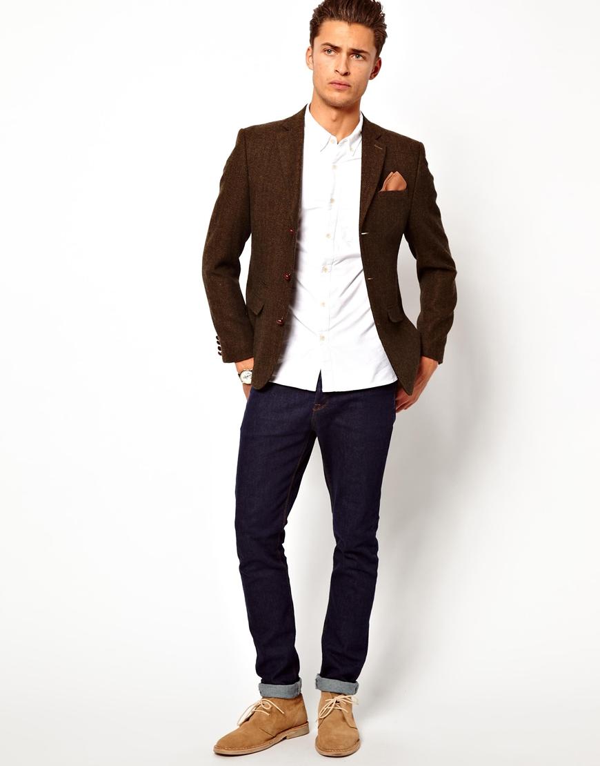 Lyst Asos Slim Fit Blazer In Herringbone In Natural For Men