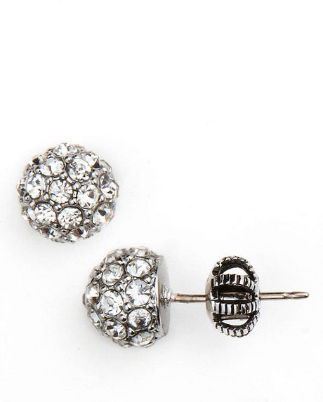 juicy couture pave fireball stud earrings in silver lyst. Black Bedroom Furniture Sets. Home Design Ideas