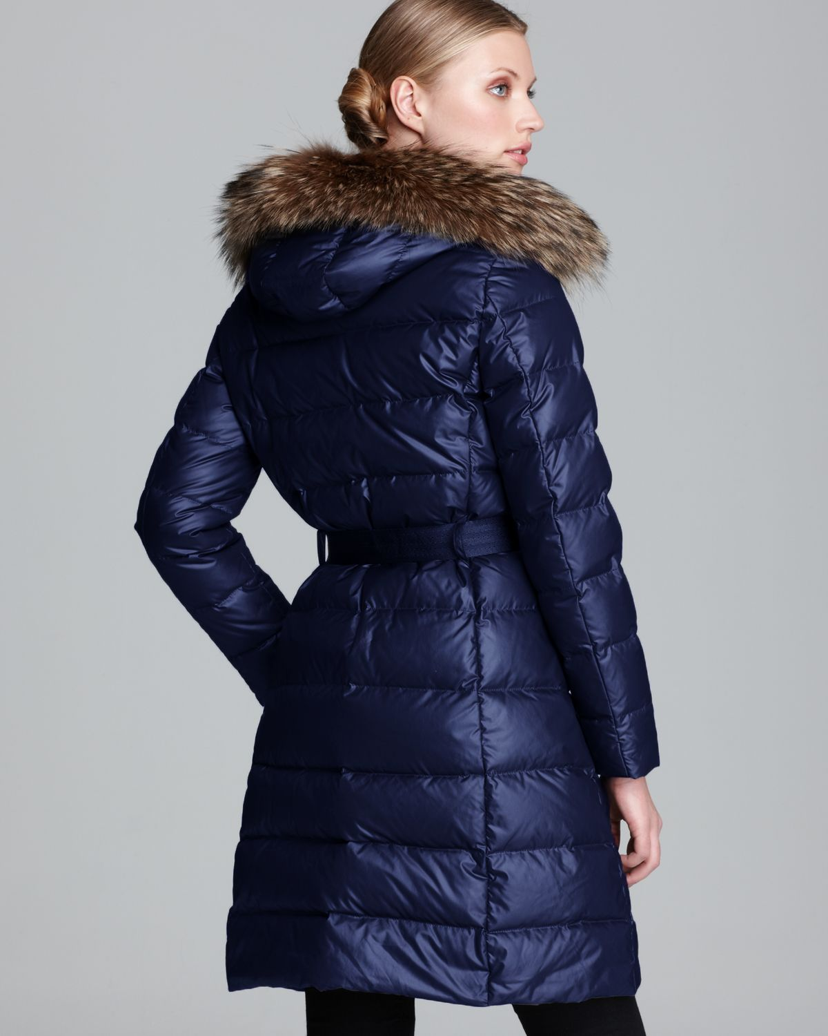 Moncler Down Coat Salsifis Mid Length Hooded in Blue | Lyst
