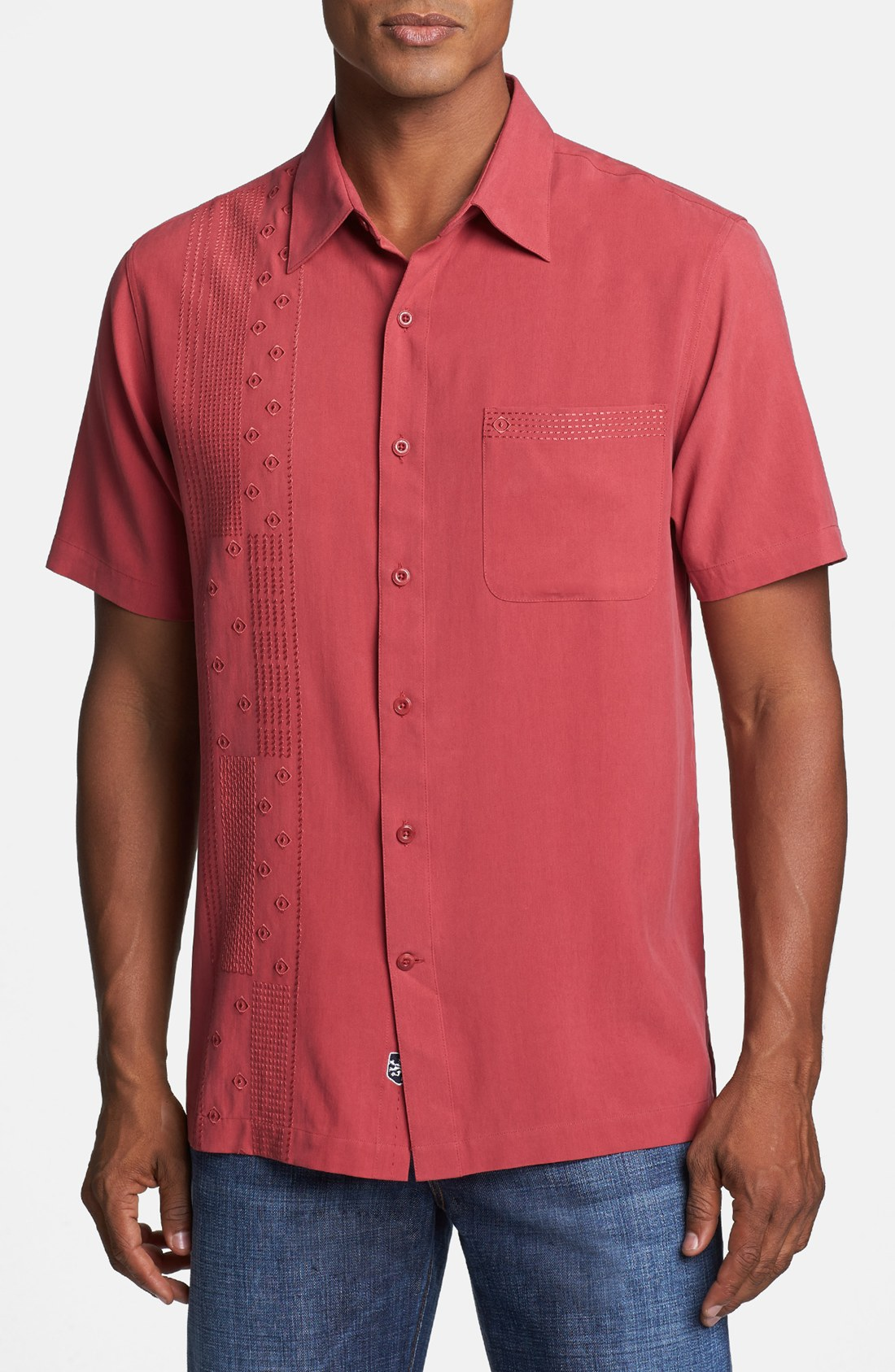 Nat Nast Inheritance Short Sleeve Silk Sport Shirt In Red