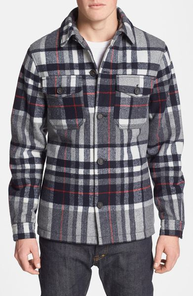Topman check wool blend flannel shirt jacket in blue for for Mens wool flannel shirt