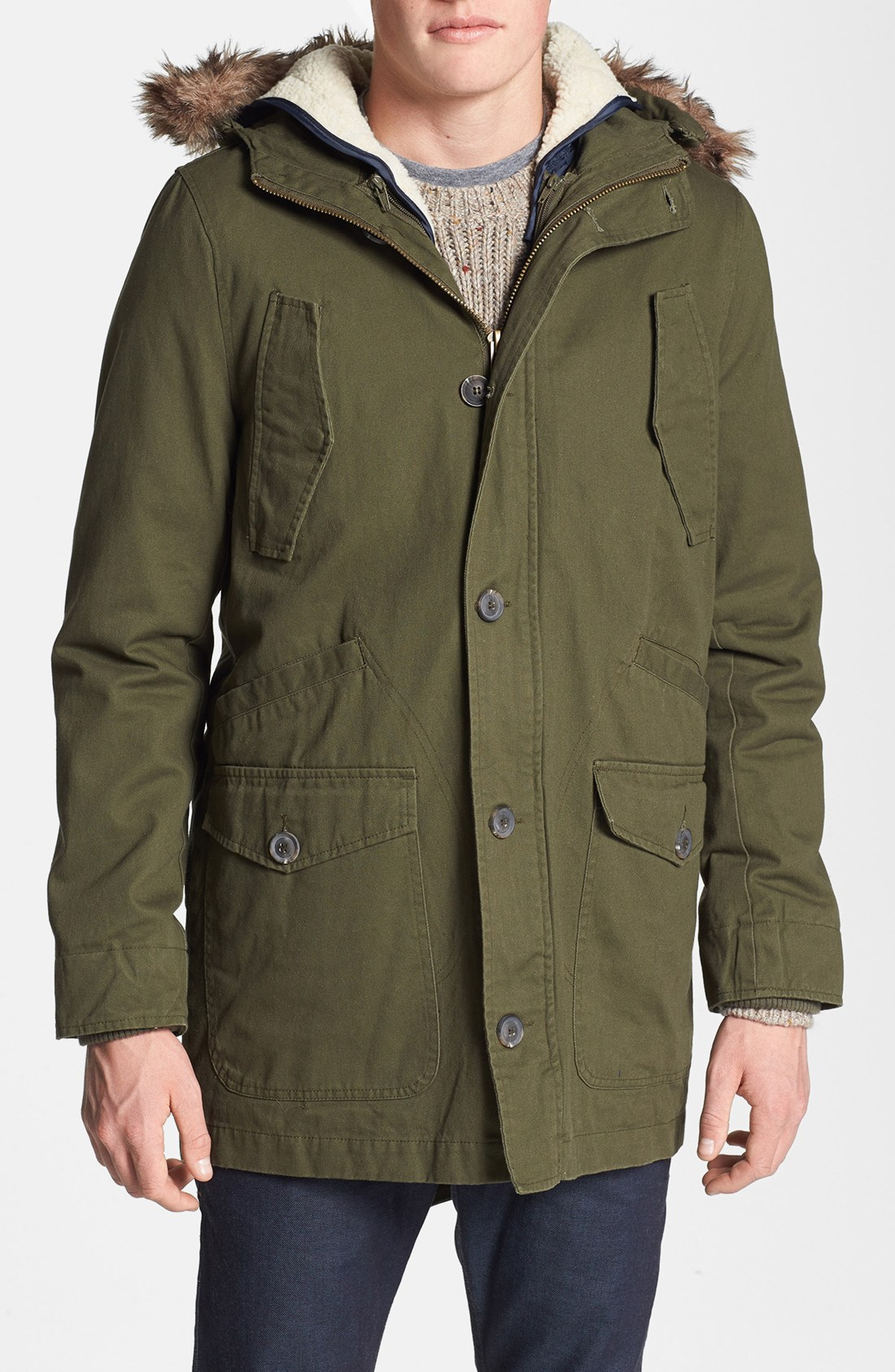 Topman Wool Blend Hooded Parka in Green for Men | Lyst