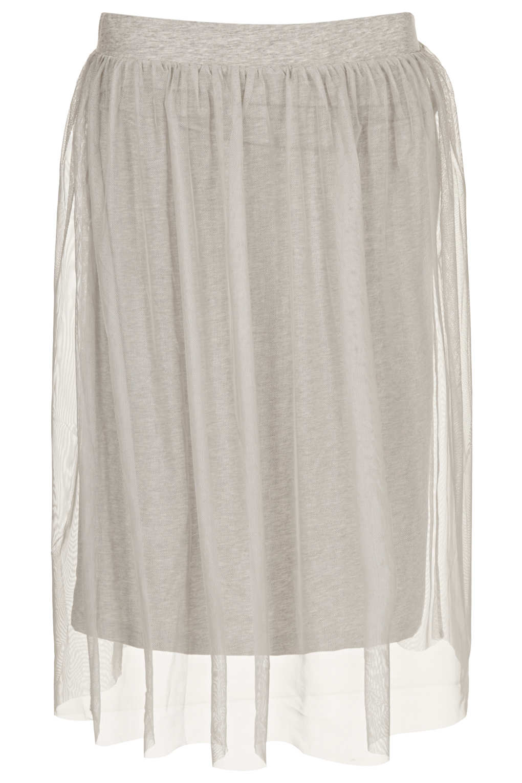 topshop grey midi tulle skirt in gray grey marl lyst