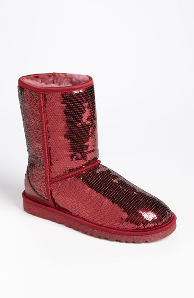 Ugg classic short sparkle boot in red sangria lyst