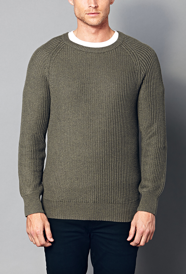 Forever 21 Ribbed Sweater in Green for Men | Lyst