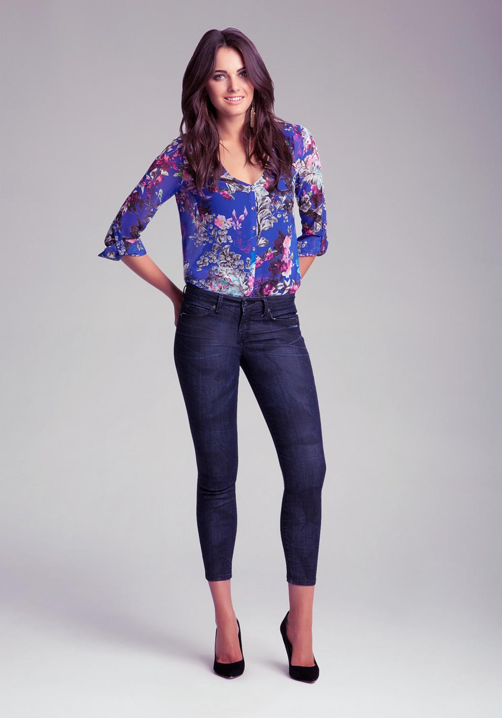 Bebe Back Zip Skinny Jeans In Denim  Blue