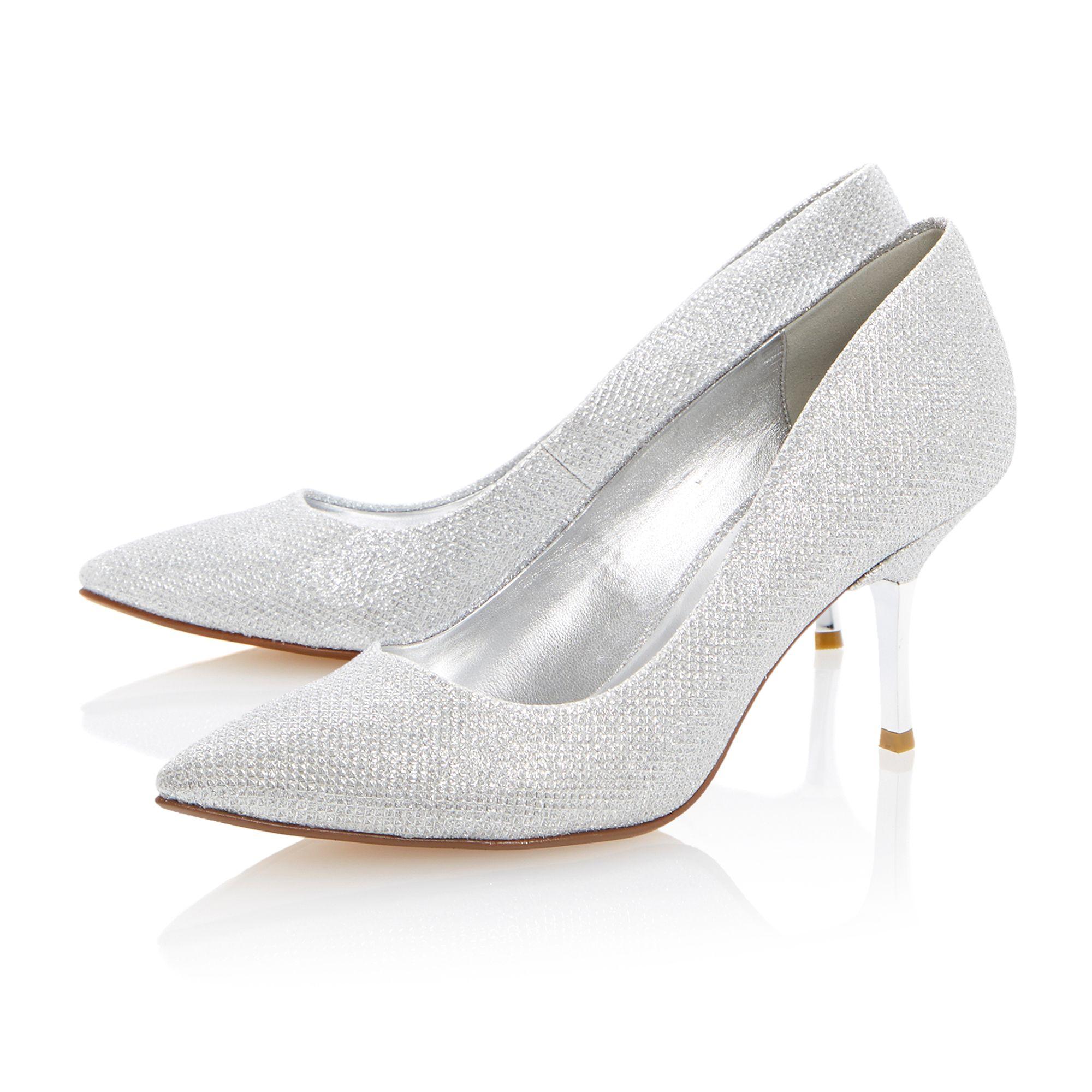Kitten Heeled Silver Court Shoe