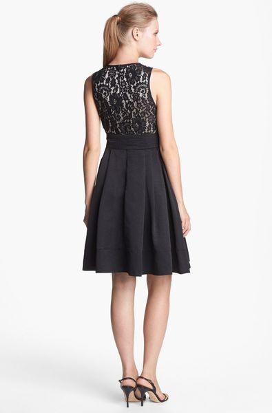 Eliza J Mixed Media Fit Flare Dress In Black Lyst