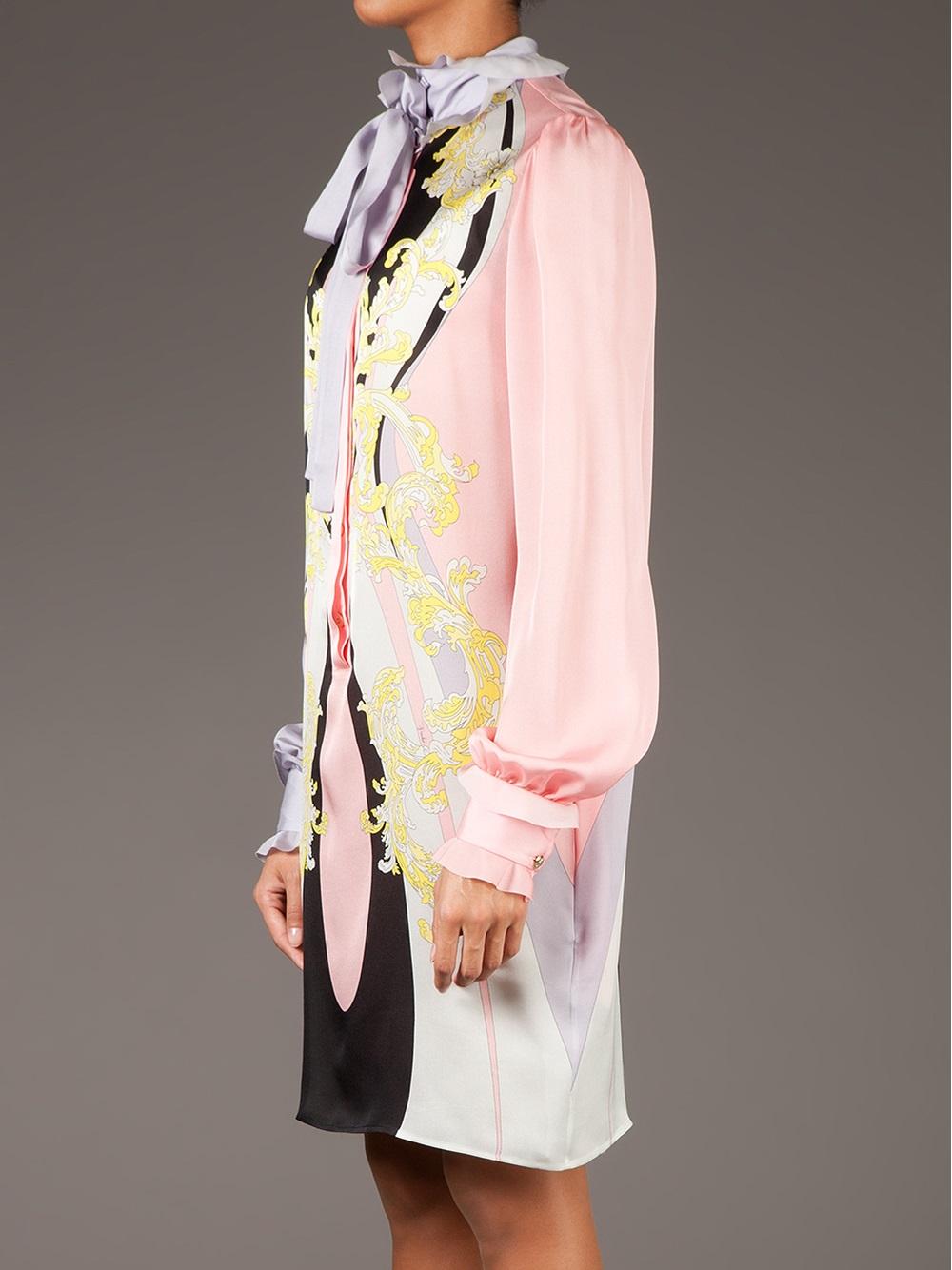 Emilio Pucci Floral Print Ruffle Neck Dress in Pink & Purple (Purple)