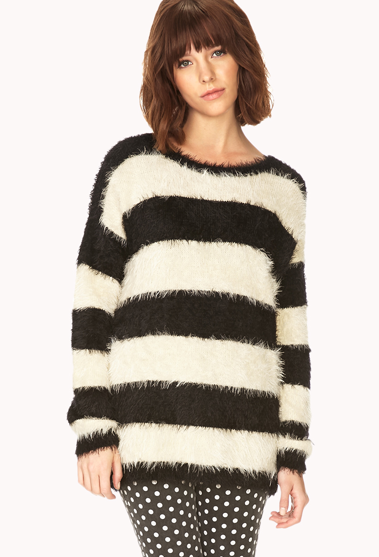Forever 21 Fuzzy Striped Sweater in Black | Lyst
