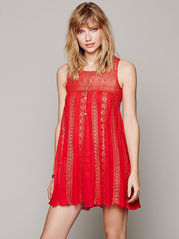 Free people Fp One Foiled Annabella Dress in Red - Lyst