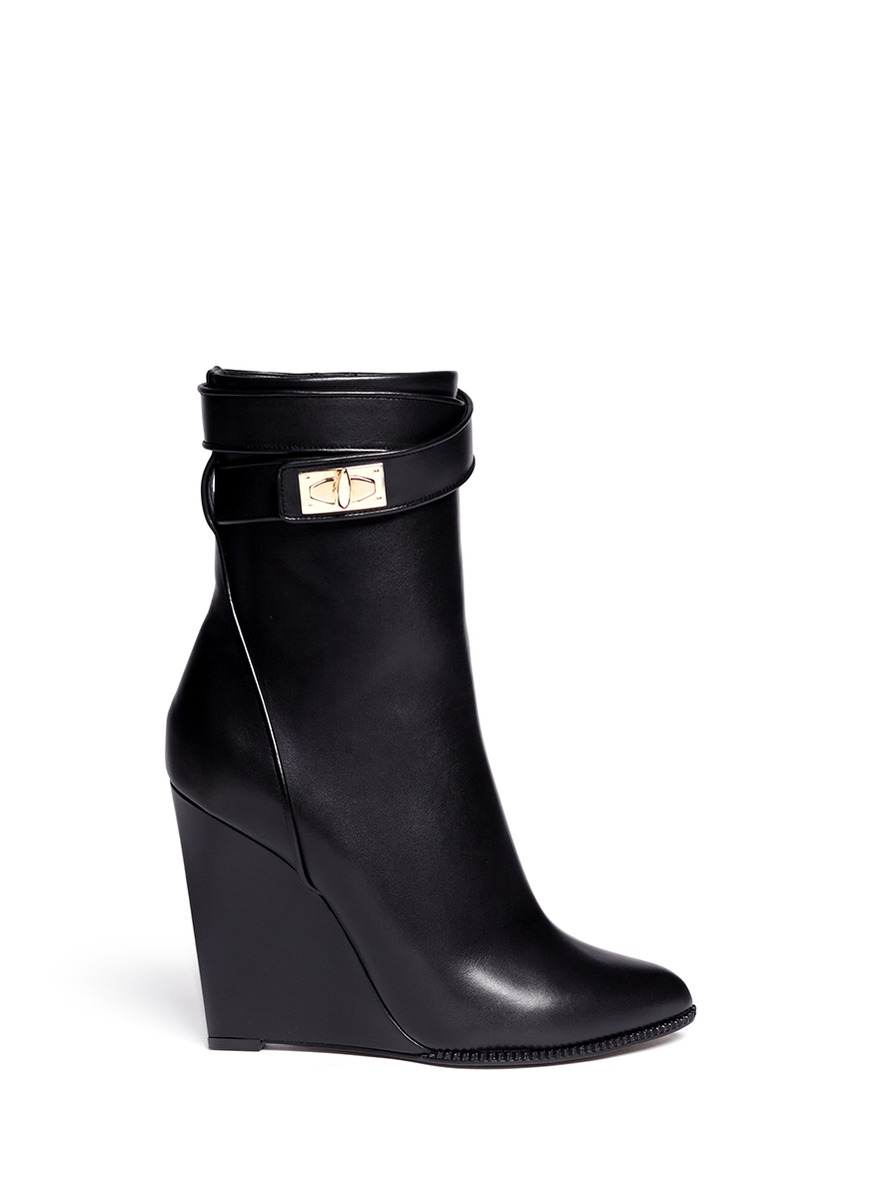 givenchy shark tooth midcalf wedge boots in black lyst